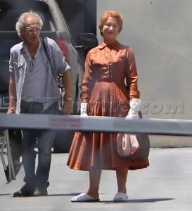 Helen Mirren on the 'Hitchcock' set. May 11, 2012 X17online.com EXCLUSIVE